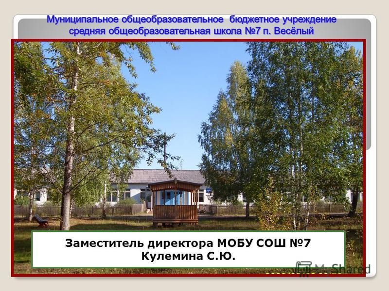 Заместитель директора МОБУ СОШ 7 Кулемина С.Ю.