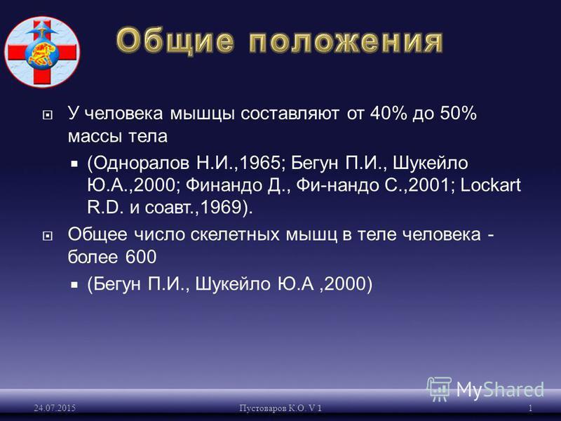 У человека мышцы составляют от 40% до 50% массы тела (Одноралов Н.И.,1965; Бегун П.И., Шукейло Ю.А.,2000; Финандо Д., Фи-нандо С.,2001; Lockart R.D. и соавт.,1969). Общее число скелетных мышц в теле человека - более 600 (Бегун П.И., Шукейло Ю.А,2000)