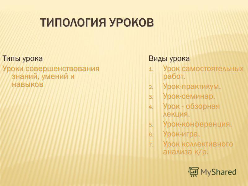 ТИПОЛОГИЯ УРОКОВ Типы урока Уроки совершенствования знаний, умений и навыков Виды урока 1. Урок самостоятельных работ. 2. Урок-практикум. 3. Урок-семинар. 4. Урок - обзорная лекция. 5. Урок-конференция. 6. Урок-игра. 7. Урок коллективного анализа к/р