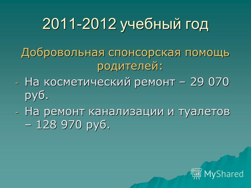 2011-2012 учебный год Добровольная спонсорская помощь родителей: - На косметический ремонт – 29 070 руб. - На ремонт канализации и туалетов – 128 970 руб.