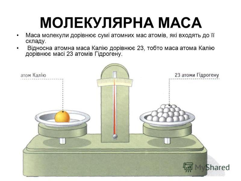 МОЛЕКУЛЯРНА МАСА Маса молекули дорівнює сумі атомних мас атомів, які входять до її складу. Відносна атомна маса Калію дорівнює 23, тобто маса атома Калію дорівнює масі 23 атомів Гідрогену.