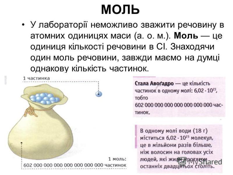 МОЛЬ У лабораторії неможливо зважити речовину в атомних одиницях маси (а. о. м.). Моль це одиниця кількості речовини в СІ. Знаходячи один моль речовини, завжди маємо на думці однакову кількість частинок.