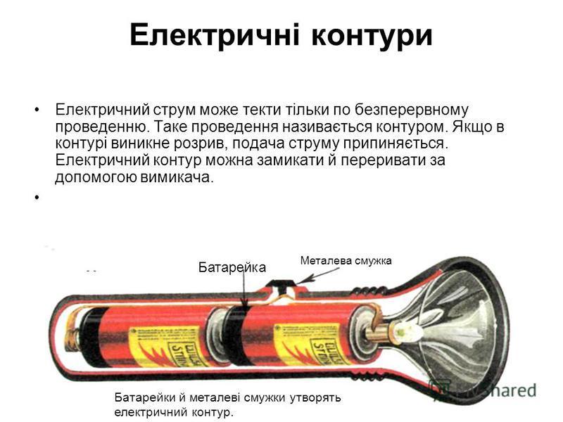 Електричні контури Електричний струм може текти тільки по безперервному проведенню. Таке проведення називається контуром. Якщо в контурі виникне розрив, подача струму припиняється. Електричний контур можна замикати й переривати за допомогою вимикача.