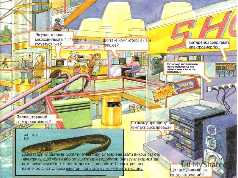 Як улаштована мікрохвильова піч? Як у ній готується їжа? Що таке комп'ютер і як він працює? Батарейки зберігають електроенергію. Як улаштований електронагрівник? По якому принципу працює компакт-диск плеера? Що таке динамік і як він улаштований? Деяк