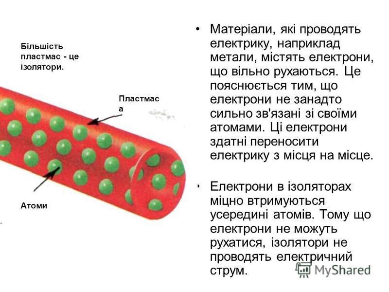 Матеріали, які проводять електрику, наприклад метали, містять електрони, що вільно рухаються. Це пояснюється тим, що електрони не занадто сильно зв'язані зі своїми атомами. Ці електрони здатні переносити електрику з місця на місце. Електрони в ізолят