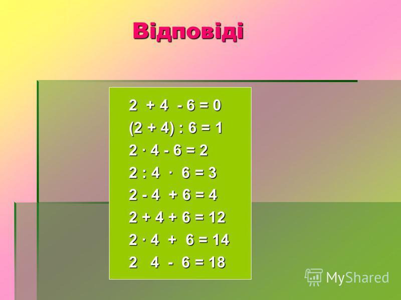 Відповіді 2 + 4 - 6 = 0 (2 + 4) : 6 = 1 2 · 4 - 6 = 2 2 : 4 · 6 = 3 2 - 4 + 6 = 4 2 + 4 + 6 = 12 2 · 4 + 6 = 14 2 4 - 6 = 18