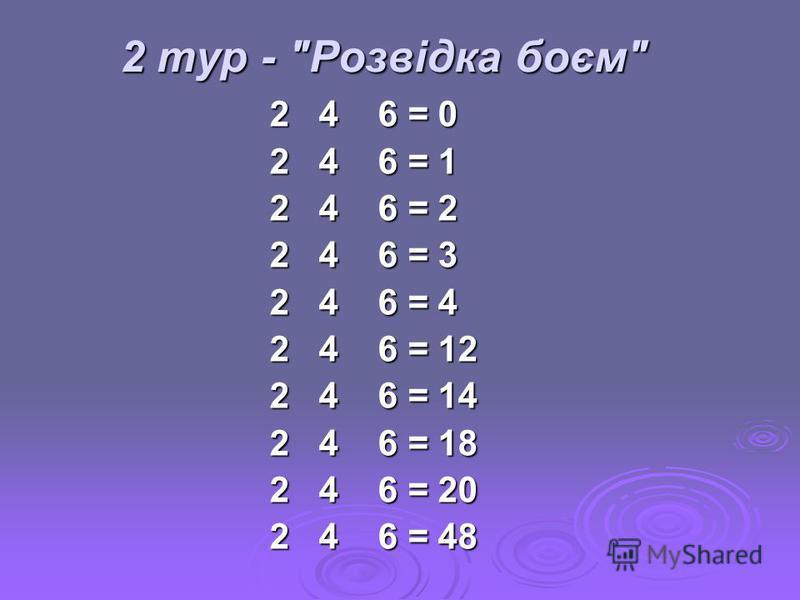 2 тур - Розвідка боєм 2 4 6 = 0 2 4 6 = 1 2 4 6 = 2 2 4 6 = 3 2 4 6 = 4 2 4 6 = 12 2 4 6 = 14 2 4 6 = 18 2 4 6 = 20 2 4 6 = 48