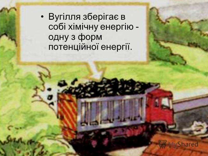 Вугілля зберігає в собі хімічну енергію - одну з форм потенційної енергії.