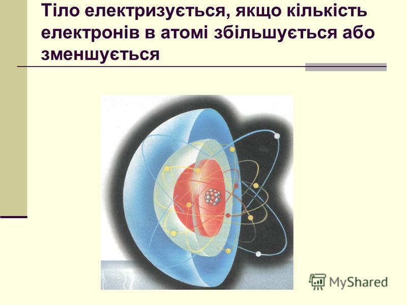Тіло електризується, якщо кількість електронів в атомі збільшується або зменшується