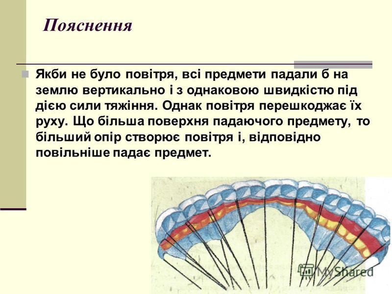 Пояснення Якби не було повітря, всі предмети падали б на землю вертикально і з однаковою швидкістю під дією сили тяжіння. Однак повітря перешкоджає їх руху. Що більша поверхня падаючого предмету, то більший опір створює повітря і, відповідно повільні