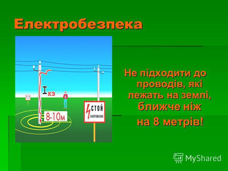 Електробезпека Не підходити до проводів, які лежать на землі, ближче ніж на 8 метрів! на 8 метрів!