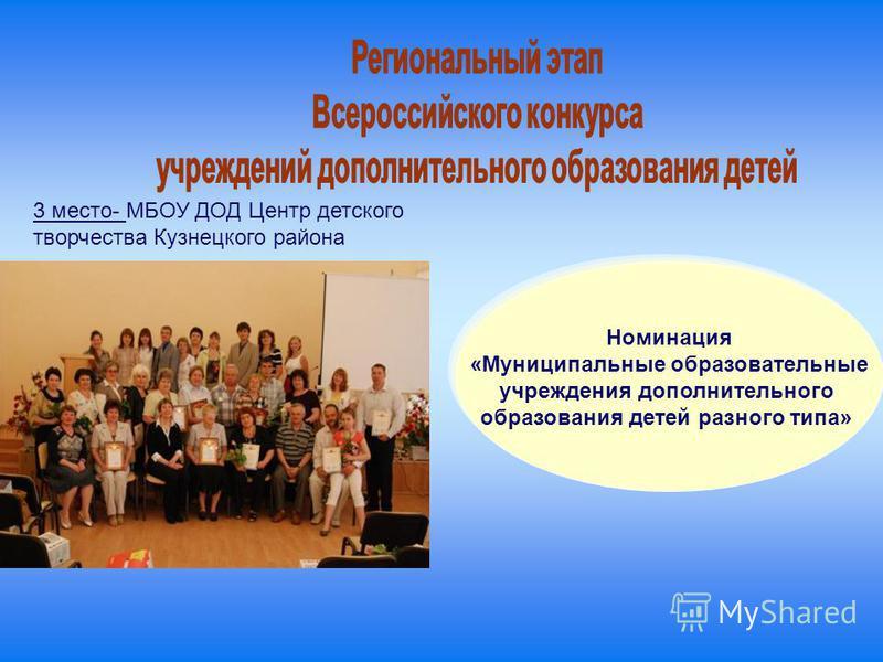 3 место- МБОУ ДОД Центр детского творчества Кузнецкого района Номинация «Муниципальные образовательные учреждения дополнительного образования детей разного типа»
