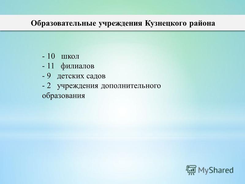 Образовательные учреждения Кузнецкого района - 10 школ - 11 филиалов - 9 детских садов - 2 учреждения дополнительного образования