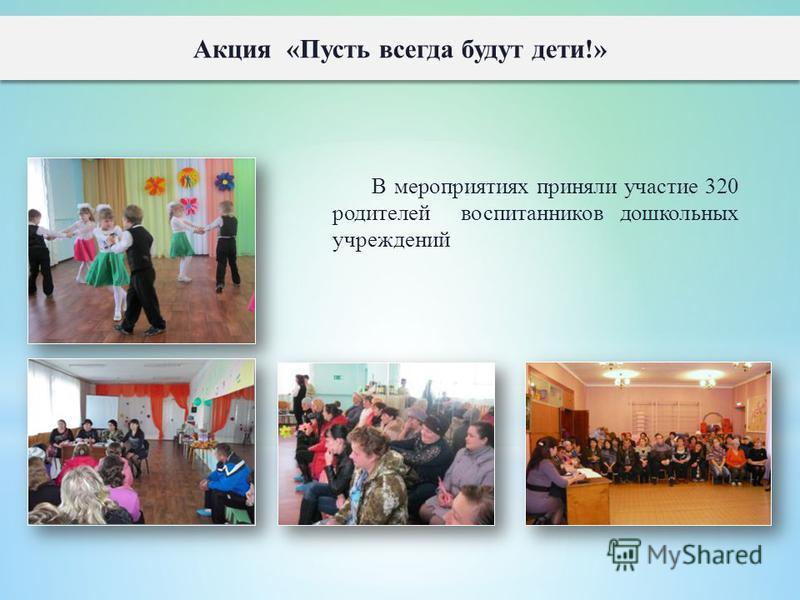 В мероприятиях приняли участие 320 родителей воспитанников дошкольных учреждений Акция «Пусть всегда будут дети!»