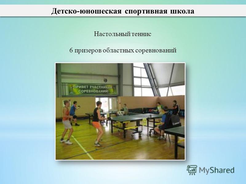 Детско-юношеская спортивная школа Настольный теннис 6 призеров областных соревнований