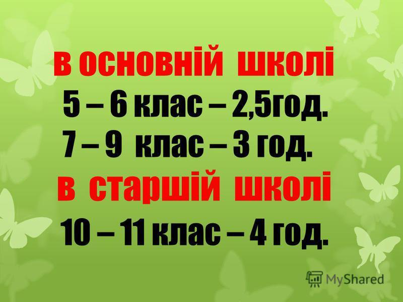 в основній школі 5 – 6 клас – 2,5год. 7 – 9 клас – 3 год. в старшій школі 10 – 11 клас – 4 год.