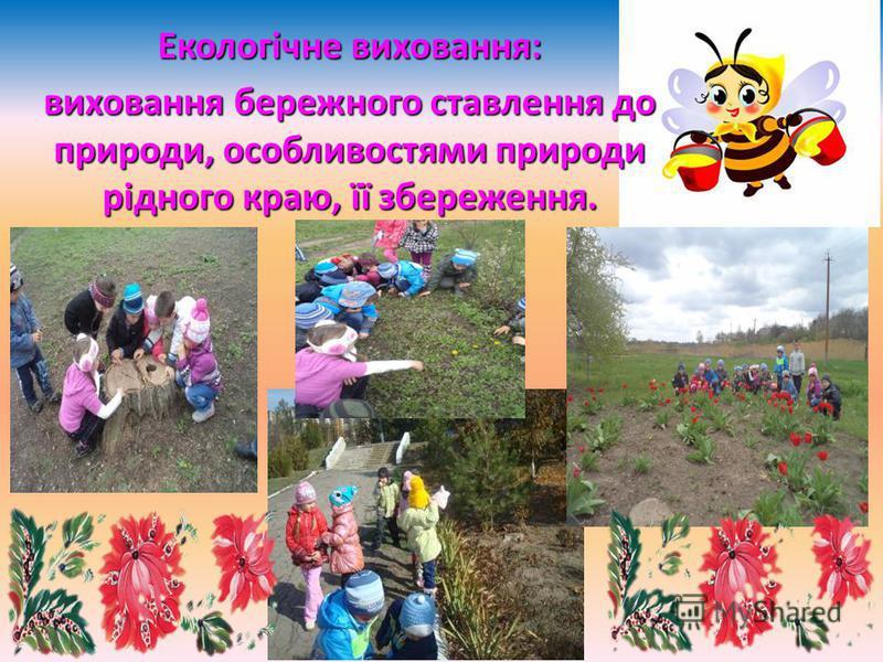 Екологічне виховання: виховання бережного ставлення до природи, особливостями природи рідного краю, її збереження.