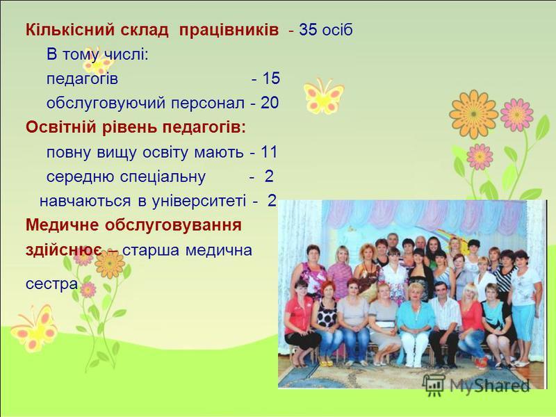 Кількісний склад працівників - 35 осіб В тому числі: педагогів - 15 обслуговуючий персонал - 20 Освітній рівень педагогів: повну вищу освіту мають - 11 середню спеціальну - 2 навчаються в університеті - 2 Медичне обслуговування здійснює – старша меди