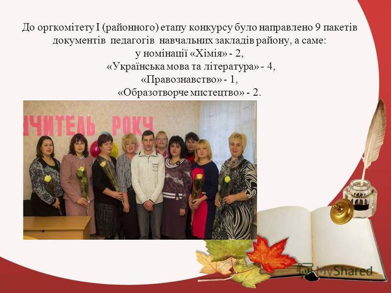 До оргкомітету І (районного) етапу конкурсу було направлено 9 пакетів документів педагогів навчальних закладів району, а саме: у номінації «Хімія» - 2, «Українська мова та література» - 4, «Правознавство» - 1, «Образотворче мистецтво» - 2.