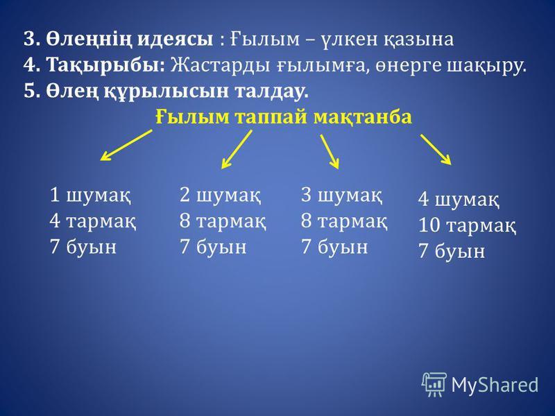 3. Өлеңнің идеясы : Ғылым – үлкен қазына 4. Тақырыбы: Жастарды ғылымға, өнерге шақыру. 5. Өлең құрылысын талдау. Ғылым таппай мақтанба 1 шумақ 4 тармақ 7 буын 2 шумақ 8 тармақ 7 буын 3 шумақ 8 тармақ 7 буын 4 шумақ 10 тармақ 7 буын