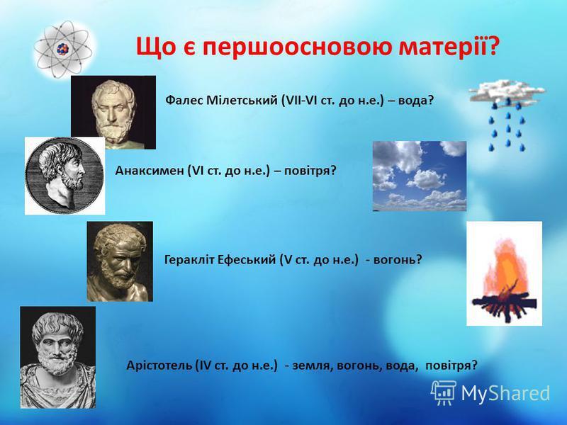 Що є першоосновою матерії? Фалес Мілетський (VII-VI ст. до н.е.) – вода? Анаксимен (VI ст. до н.е.) – повітря? Геракліт Ефеський (V ст. до н.е.) - вогонь? Арістотель (IV ст. до н.е.) - земля, вогонь, вода, повітря?
