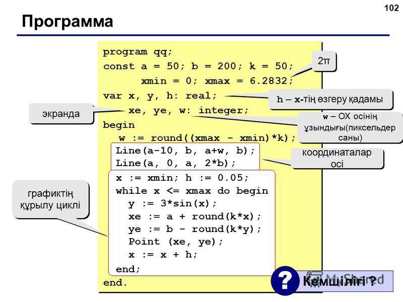 102 Программа 2π2π 2π2π h – x -тің өзгеру қадамы w – ОХ осінің ұзындығы(пиксельдер саны) экранда координаталар осі графиктің құрылу циклі program qq; const a = 50; b = 200; k = 50; xmin = 0; xmax = 6.2832; var x, y, h: real; xe, ye, w: integer; begin