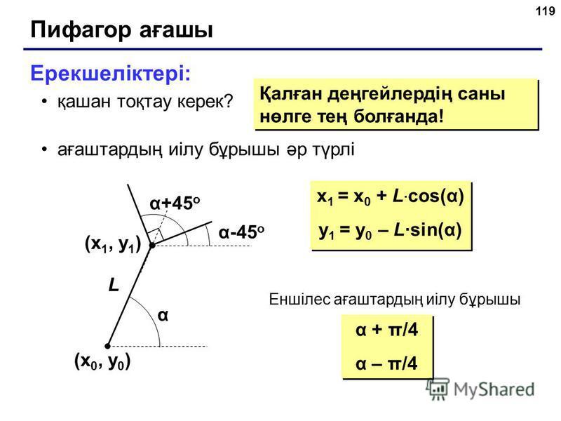 119 Пифагор ағашы Ерекшеліктері: қашан тоқтау керек? ағаштардың иілу бұрышы әр түрлі Қалған деңгейлердің саны нөлге тең болғанда! (x 1, y 1 ) (x 0, y 0 ) α α+45 o α-45 o L x 1 = x 0 + L · cos(α) y 1 = y 0 – L·sin(α) x 1 = x 0 + L · cos(α) y 1 = y 0 –