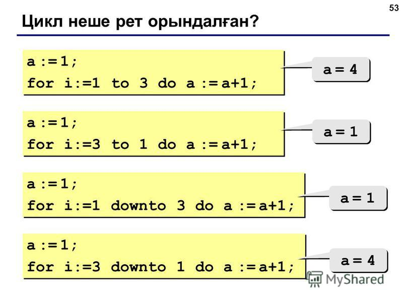 53 Цикл неше рет орындалған? a := 1; for i:=1 to 3 do a := a+1; a := 1; for i:=1 to 3 do a := a+1; a = 4a = 4 a = 4a = 4 a := 1; for i:=3 to 1 do a := a+1; a := 1; for i:=3 to 1 do a := a+1; a = 1a = 1 a = 1a = 1 a := 1; for i:=1 downto 3 do a := a+1