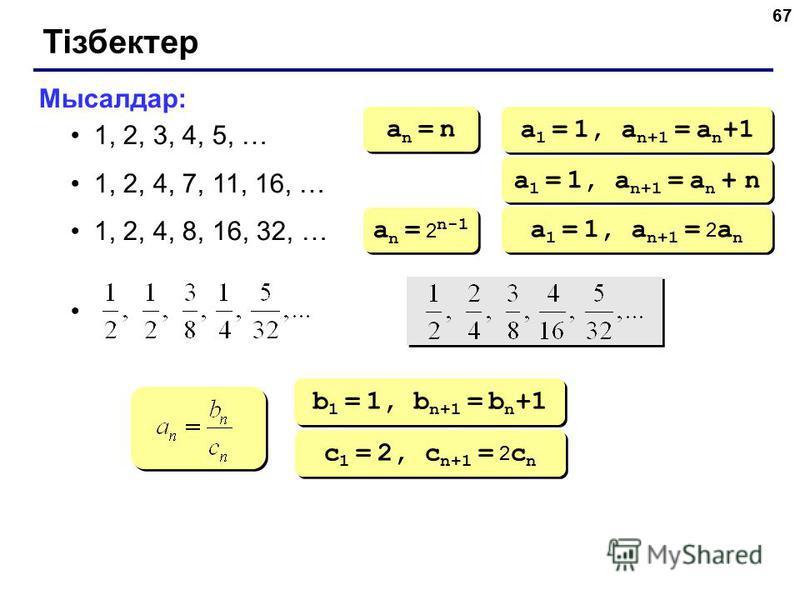 67 Тізбектер Мысалдар: 1, 2, 3, 4, 5, … 1, 2, 4, 7, 11, 16, … 1, 2, 4, 8, 16, 32, … an = nan = n an = nan = n a 1 = 1, a n+1 = a n +1 a 1 = 1, a n+1 = a n + n a n = 2 n-1 a 1 = 1, a n+1 = 2 a n b 1 = 1, b n+1 = b n +1 c 1 = 2, c n+1 = 2 c n