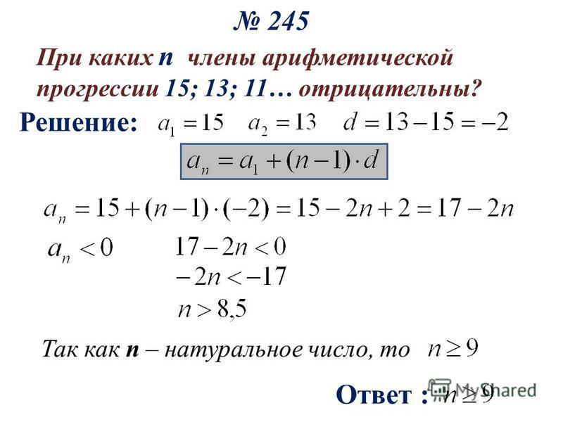 245 При каких n члены арифметической прогрессии 15; 13; 11… отрицательны? Решение: Ответ : Так как n – натуральное число, то
