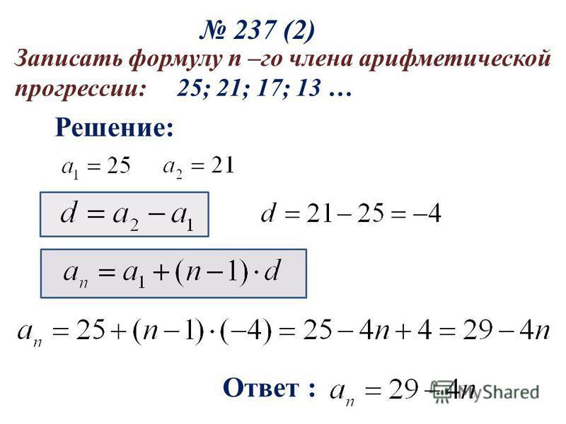 237 (2) Решение: Ответ : Записать формулу n –го члена арифметической прогрессии: 25; 21; 17; 13 …