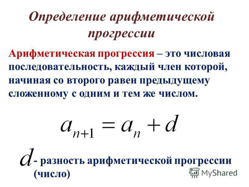 Арифметическая прогрессия – это числовая последовательность, каждый член которой, начиная со второго равен предыдущему сложенному с одним и тем же числом. - разность арифметической прогрессии (число) Определение арифметической прогрессии