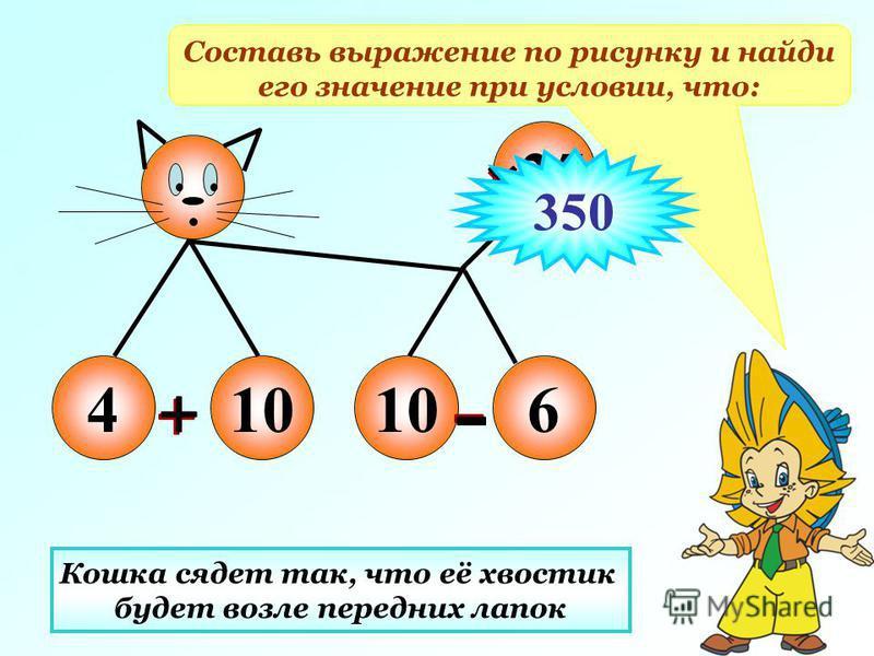 410 6 25 Составь выражение по рисунку и найди его значение при условии, что: Кошка сядет так, что её хвостик будет возле передних лапок 350