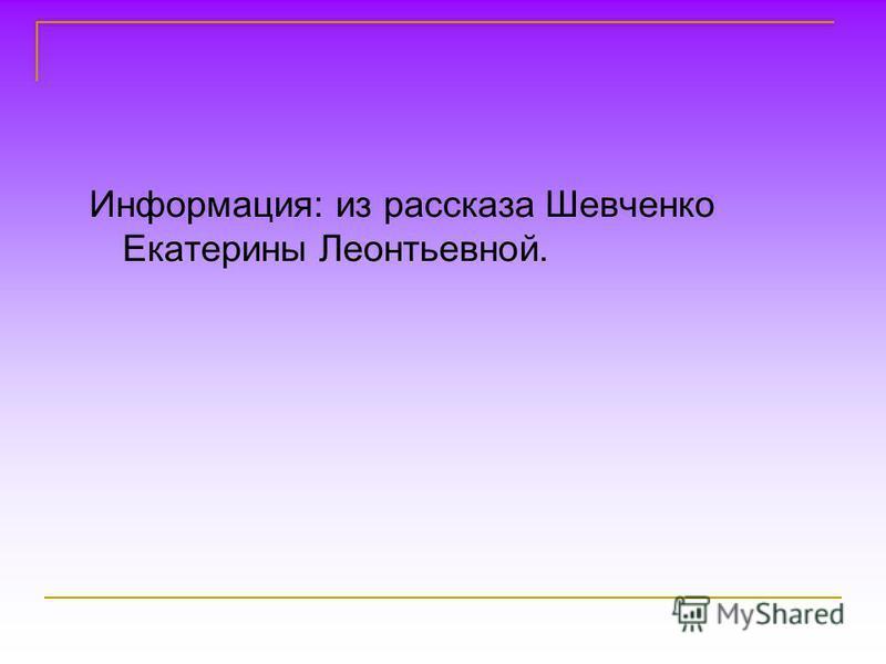 Информация: из рассказа Шевченко Екатерины Леонтьевной.