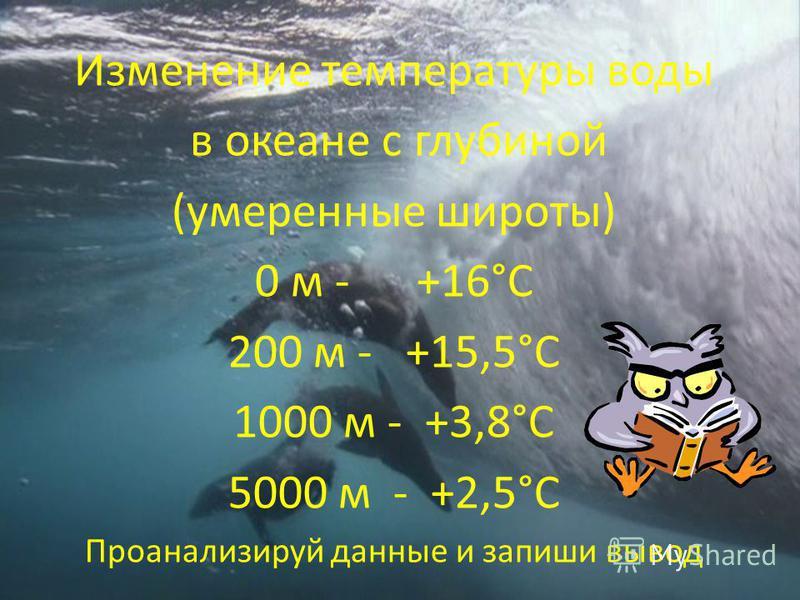 Изменение температуры воды в океане с глубиной (умеренные широты) 0 м - +16°С 200 м - +15,5°С 1000 м - +3,8°С 5000 м - +2,5°С Проанализируй данные и запиши вывод