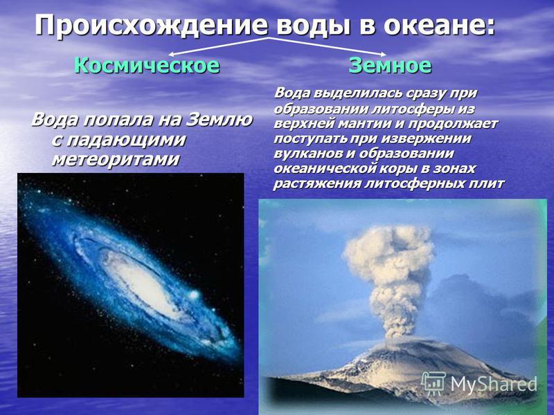 Происхождение воды в океане: Земное Вода выделилась сразу при образовании литосферы из верхней мантии и продолжает поступать при извержении вулканов и образовании океанической коры в зонах растяжения литосферных плит Вода выделилась сразу при образов