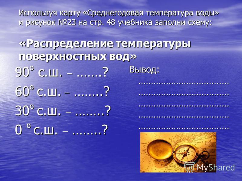 Используя карту «Среднегодовая температура воды» и рисунок 23 на стр. 48 учебника заполни схему: «Распределение температуры поверхностных вод» 90 º с.ш. _ …….? 60 º с.ш. _ ……..? 30 º с.ш. _ ……..? 0 º с.ш. _ ……..? Вывод: ……………………………… ……………………………… …………
