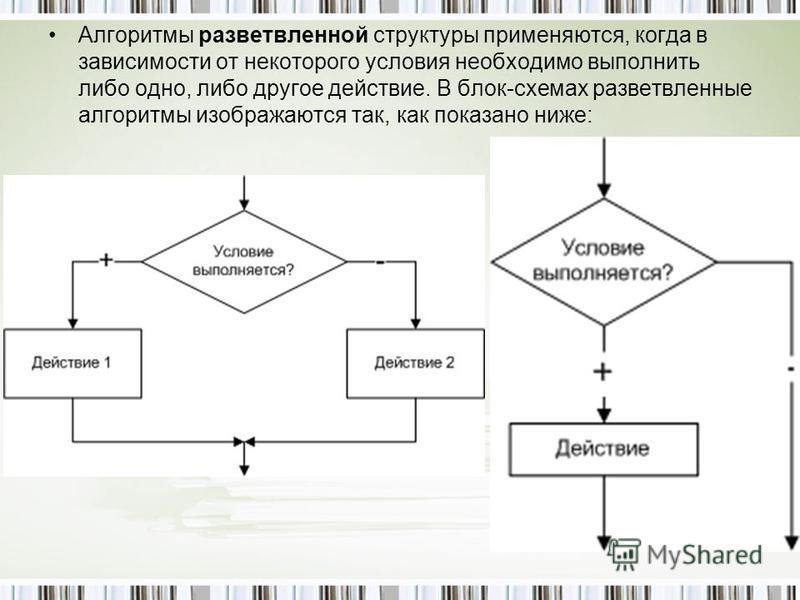 Алгоритмы разветвленной структуры применяются, когда в зависимости от некоторого условия необходимо выполнить либо одно, либо другое действие. В блок-схемах разветвленные алгоритмы изображаются так, как показано ниже: