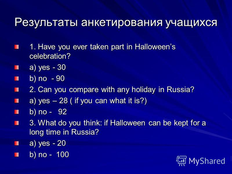 Результаты анкетирования учащихся 1. Have you ever taken part in Halloweens celebration? a) yes - 30 b) no - 90 2. Can you compare with any holiday in Russia? a) yes – 28 ( if you can what it is?) b) no - 92 3. What do you think: if Halloween can be