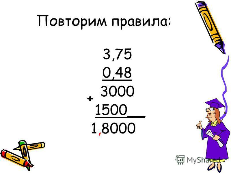 Повторим правила: 3,75 0,48 3000 1500__ 1,8000 +