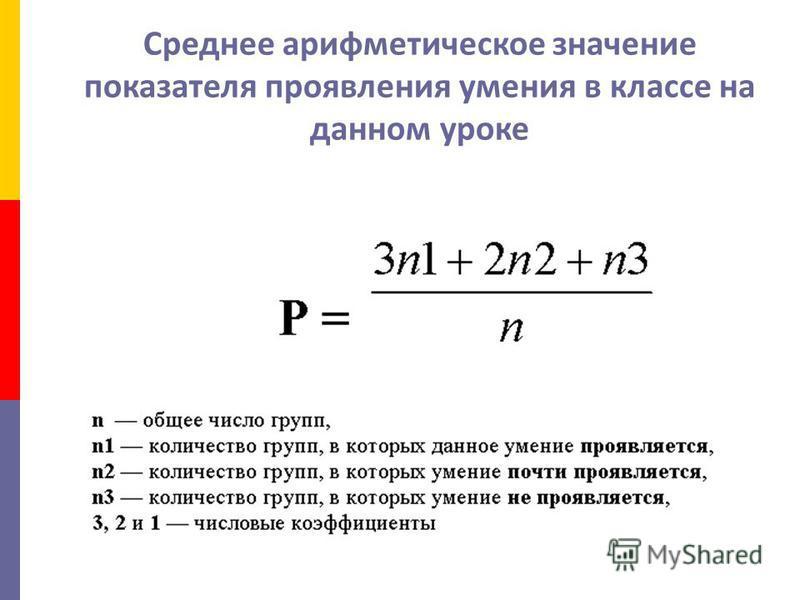 Среднее арифметическое значение показателя проявления умения в классе на данном уроке
