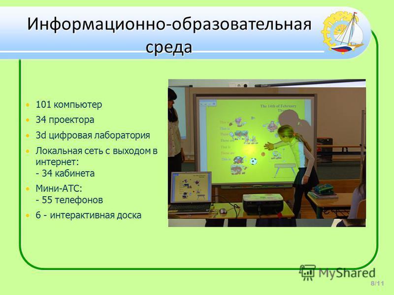 Информационно-образовательная среда 8/11 101 компьютер 34 проектора 3d цифровая лаборатория Локальная сеть с выходом в интернет: - 34 кабинета Мини-АТС: - 55 телефонов 6 - интерактивная доска
