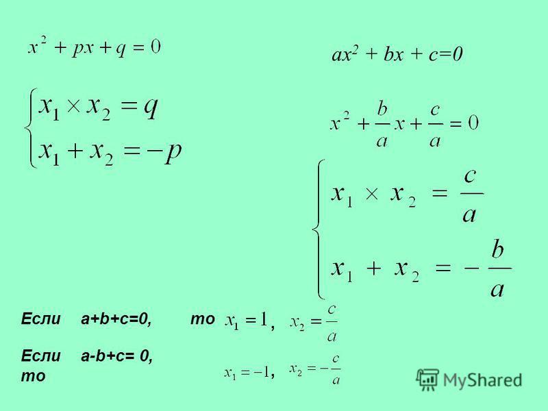 Теорема Виета. ax 2 + bx + c=0 Если a+b+c=0, то, Если a-b+c= 0, то,