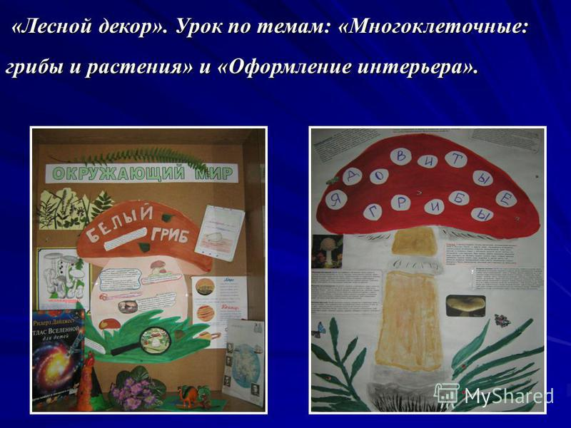 «Лесной декор». Урок по темам: «Многоклеточные: грибы и растения» и «Оформление интерьера». «Лесной декор». Урок по темам: «Многоклеточные: грибы и растения» и «Оформление интерьера».