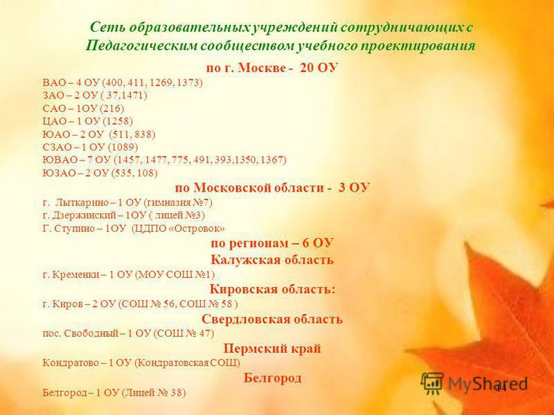 14 Сеть образовательных учреждений сотрудничающих с Педагогическим сообществом учебного проектирования по г. Москве - 20 ОУ ВАО – 4 ОУ (400, 411, 1269, 1373) ЗАО – 2 ОУ ( 37,1471) САО – 1ОУ (216) ЦАО – 1 ОУ (1258) ЮАО – 2 ОУ (511, 838) СЗАО – 1 ОУ (1