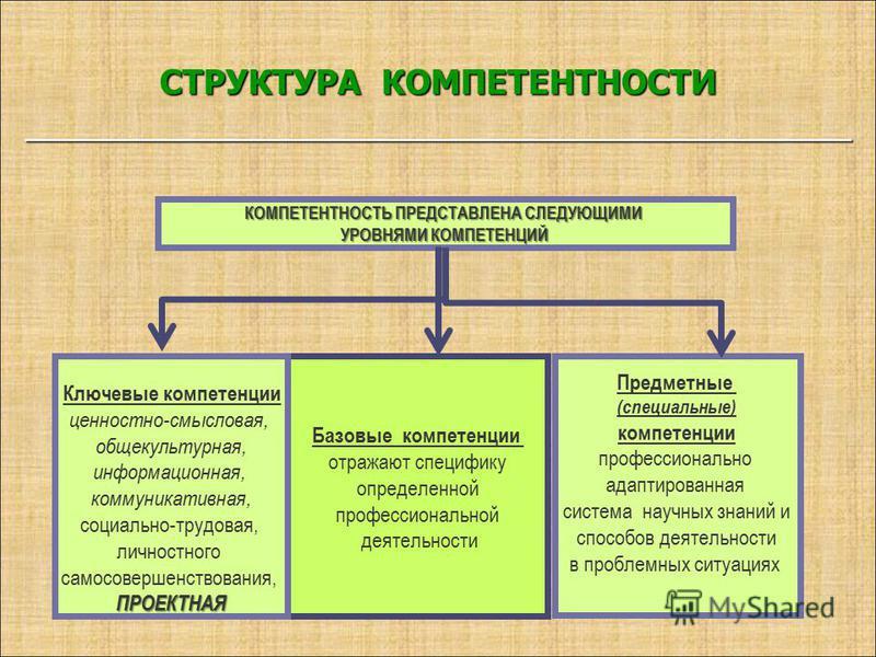 СТРУКТУРА КОМПЕТЕНТНОСТИ ___________________________________________ Предметные (специальные) компетенции профессионально адаптированная система научных знаний и способов деятельности в проблемных ситуациях Базовые компетенции отражают специфику опре