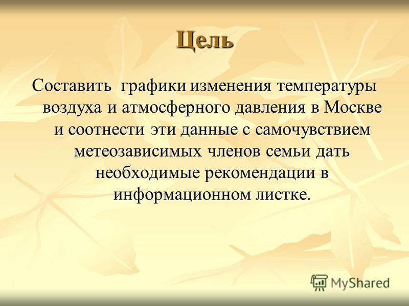 Цель Составить графики изменения температуры воздуха и атмосферного давления в Москве и соотнести эти данные с самочувствием метеозависимых членов семьи дать необходимые рекомендации в информационном листке.