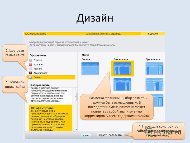 Дизайн 2. Основной шрифт сайта 1. Цветовая гамма сайта 3. Разметка страницы. Выбор разметки должен быть осмысленным. В последствии смена разметки может повлечь за собой значительную корректировку всего содержимого сайта 4. Переход в конструктор сайто