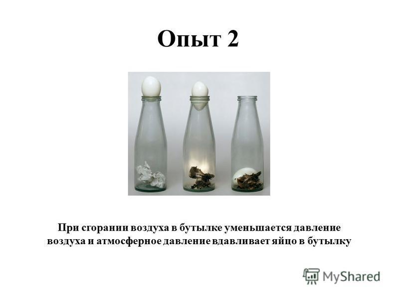 При сгорании воздуха в бутылке уменьшается давление воздуха и атмосферное давление вдавливает яйцо в бутылку
