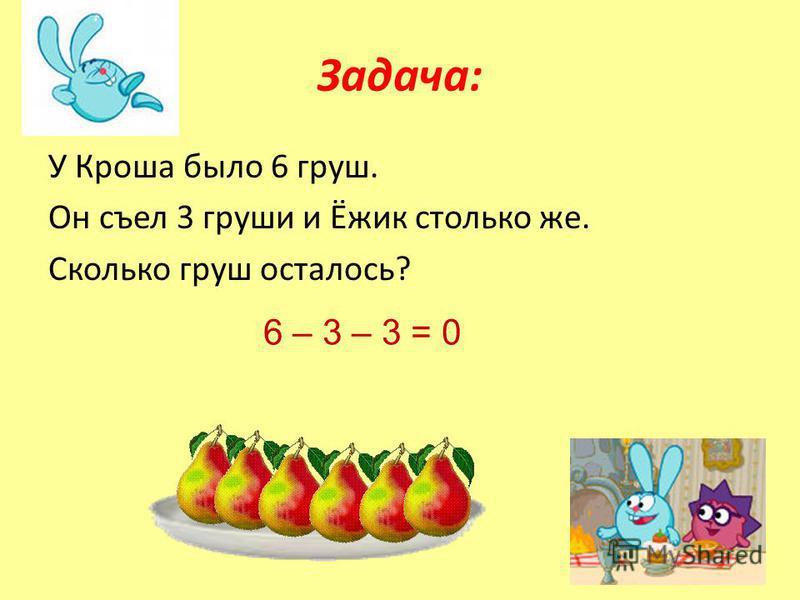 Задача: У Кроша было 6 груш. Он съел 3 груши и Ёжик столько же. Сколько груш осталось? 6 – 3 – 3 = 0